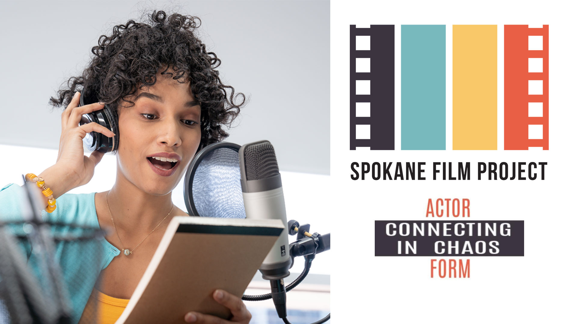 Spokane Film Project Connecting in Chaos Actor Form an image of a woman reading into a microphone